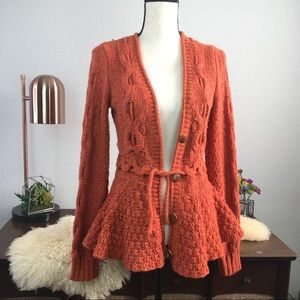 Anthro sparrow cable knit peplum cardigan orange